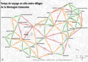 Temps de voyage en vélo entre villages de la Montagne Limousine