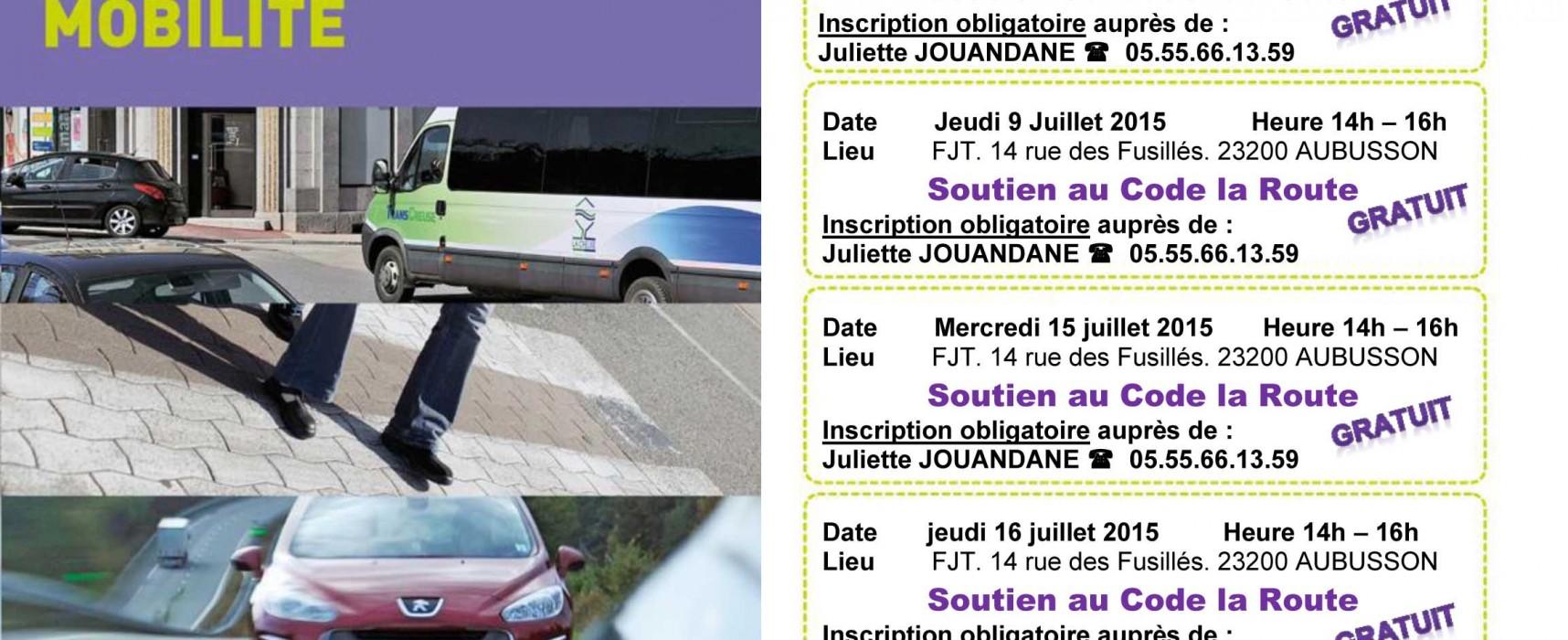Programme des ateliers de soutien au code de la route à Aubusson