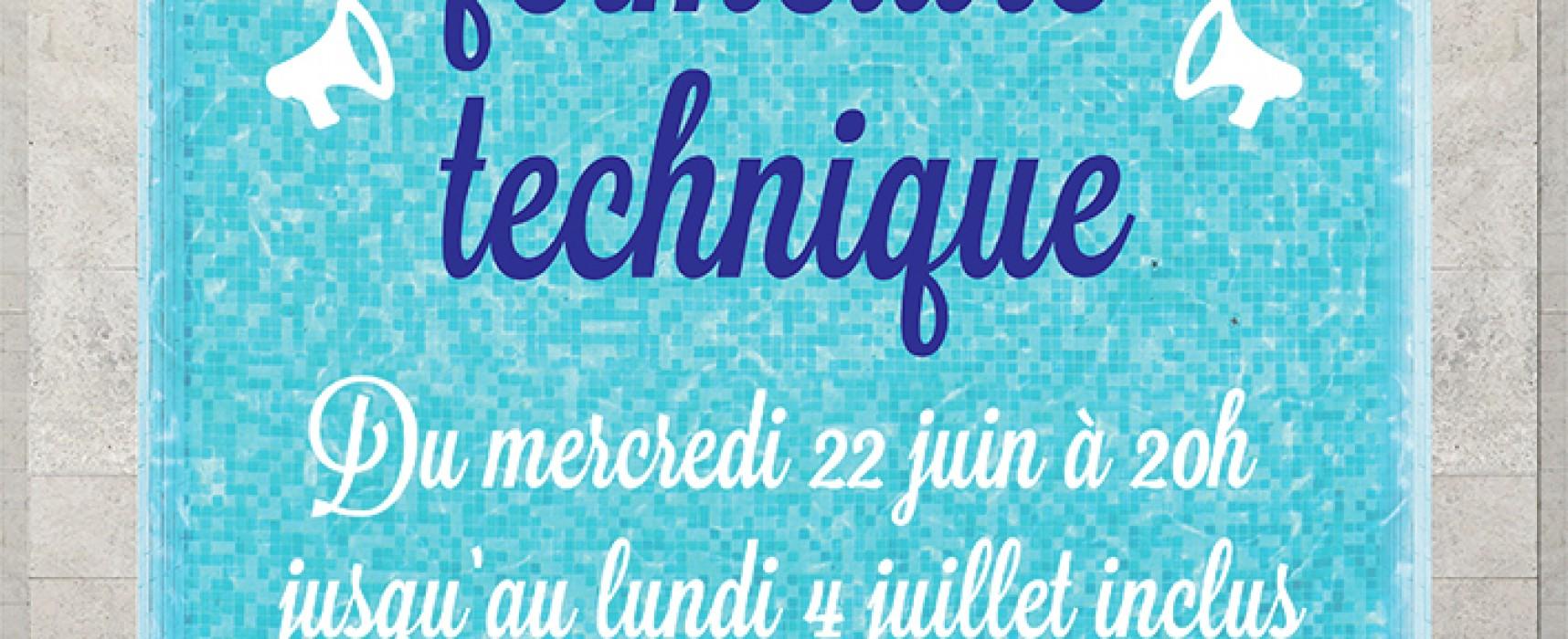 AQUASUD – fermeture technique annuelle du mercredi 22 juin à 20h au lundi 4 juillet 2016 inclus