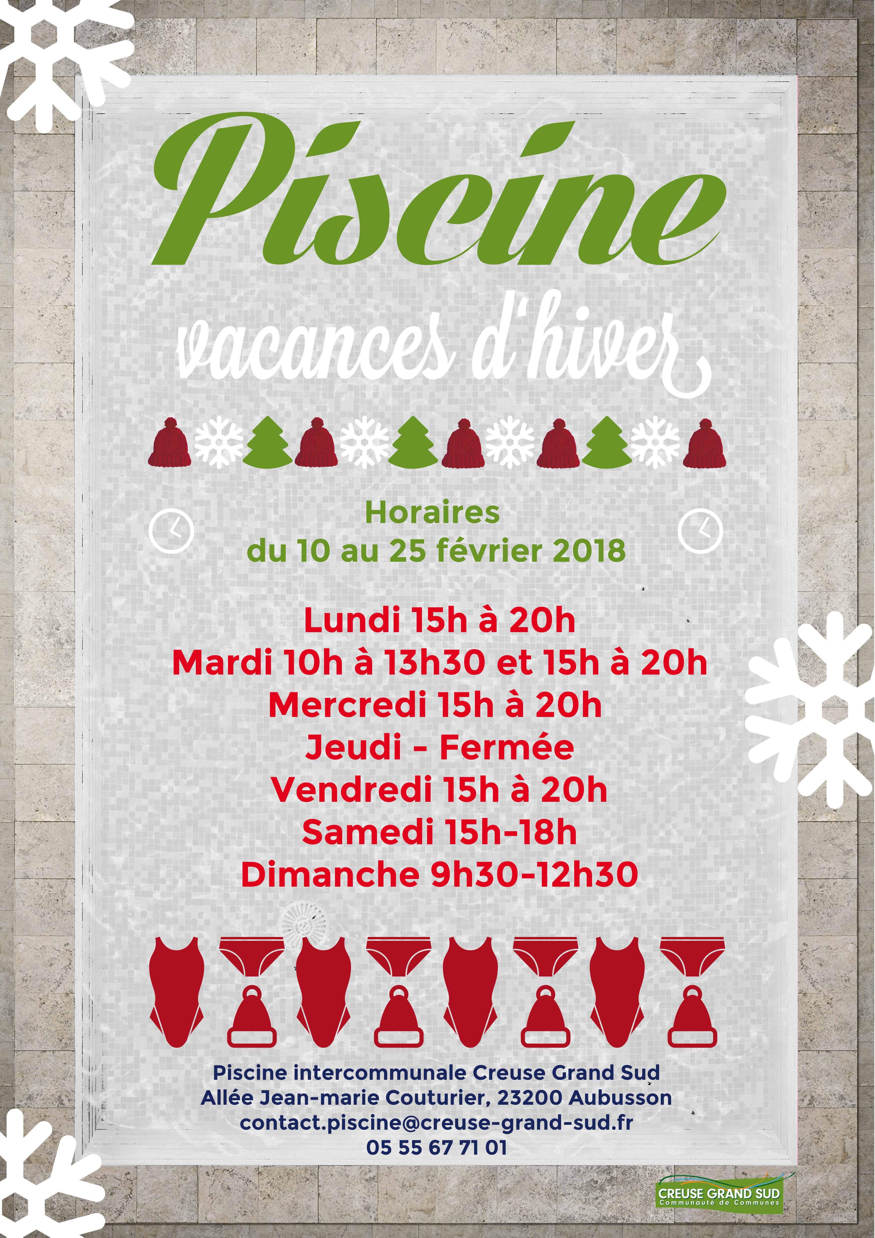 Horaires d ouverture aquasud vacances d hiver creuse - Piscine oloron sainte marie horaires ...