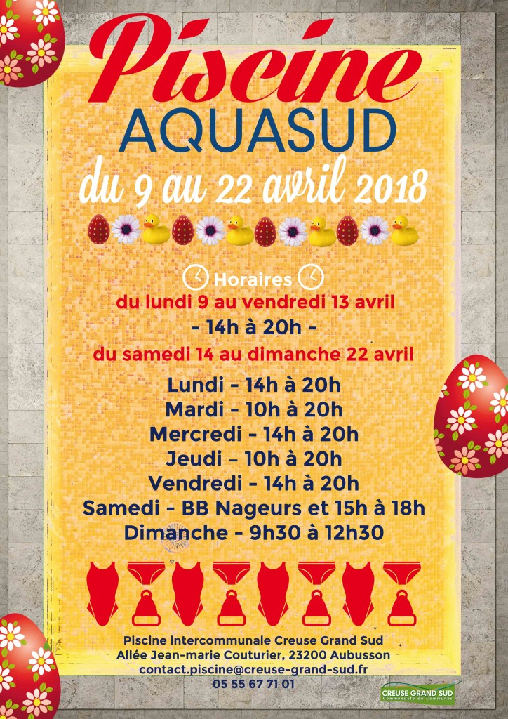 Horaires aquasud vacances de printemps creuse grand sud for Carrelage grand sud