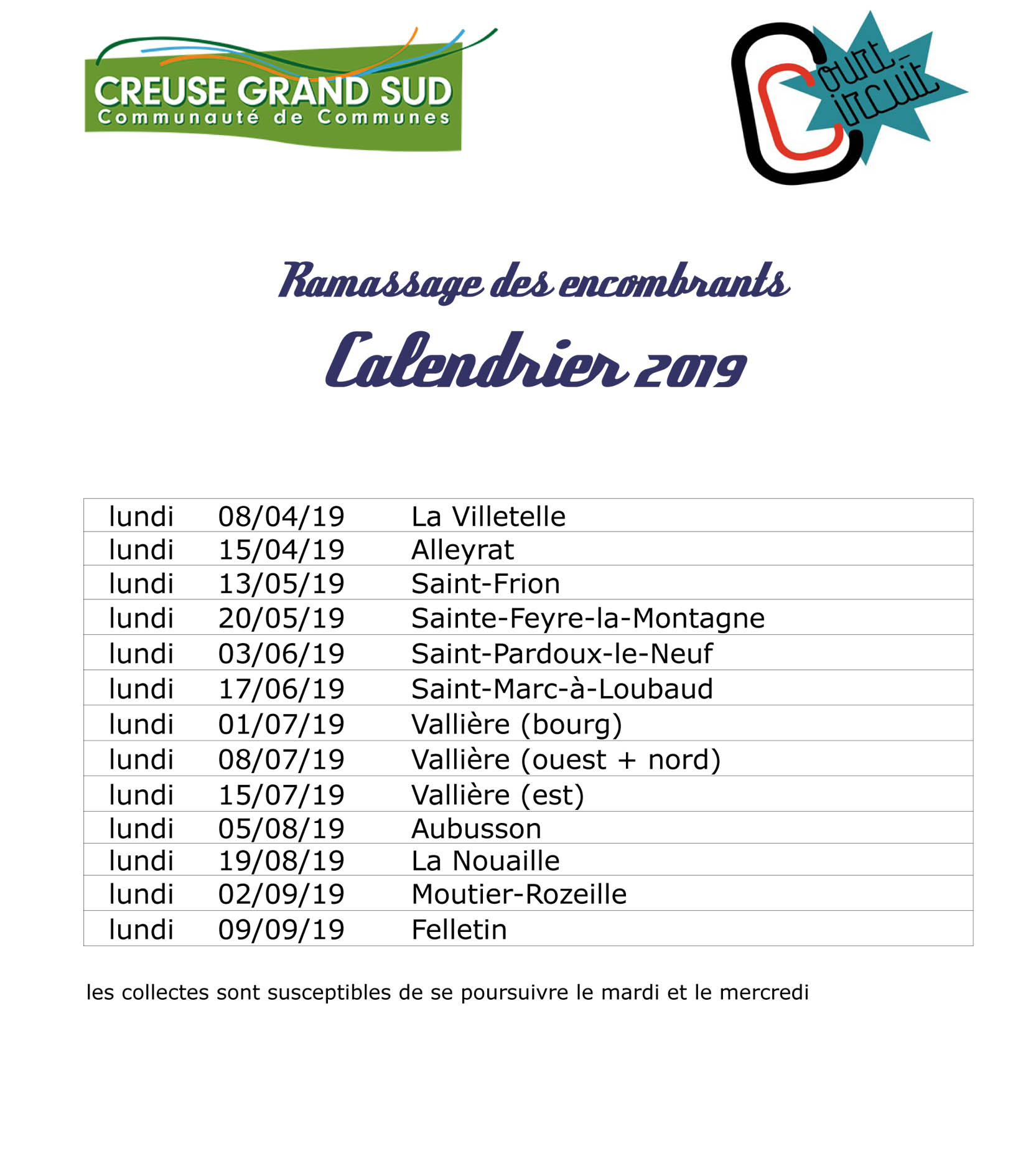 calendrier encombrants
