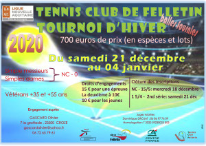affiche tournoi 2020 TC Felletin
