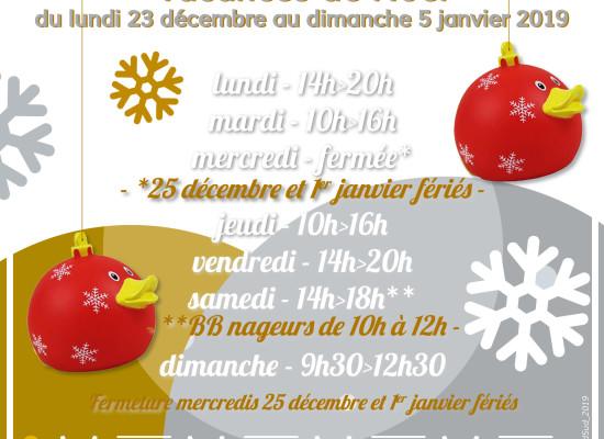 Vacances de Noël – Horaires d'ouverture AQUASUD