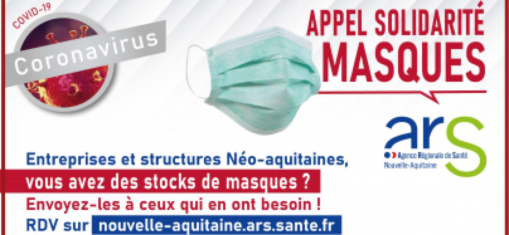L'ARS lance un appel de solidarité auprès des entreprises pour collecter des stocks de masques chirurgicaux