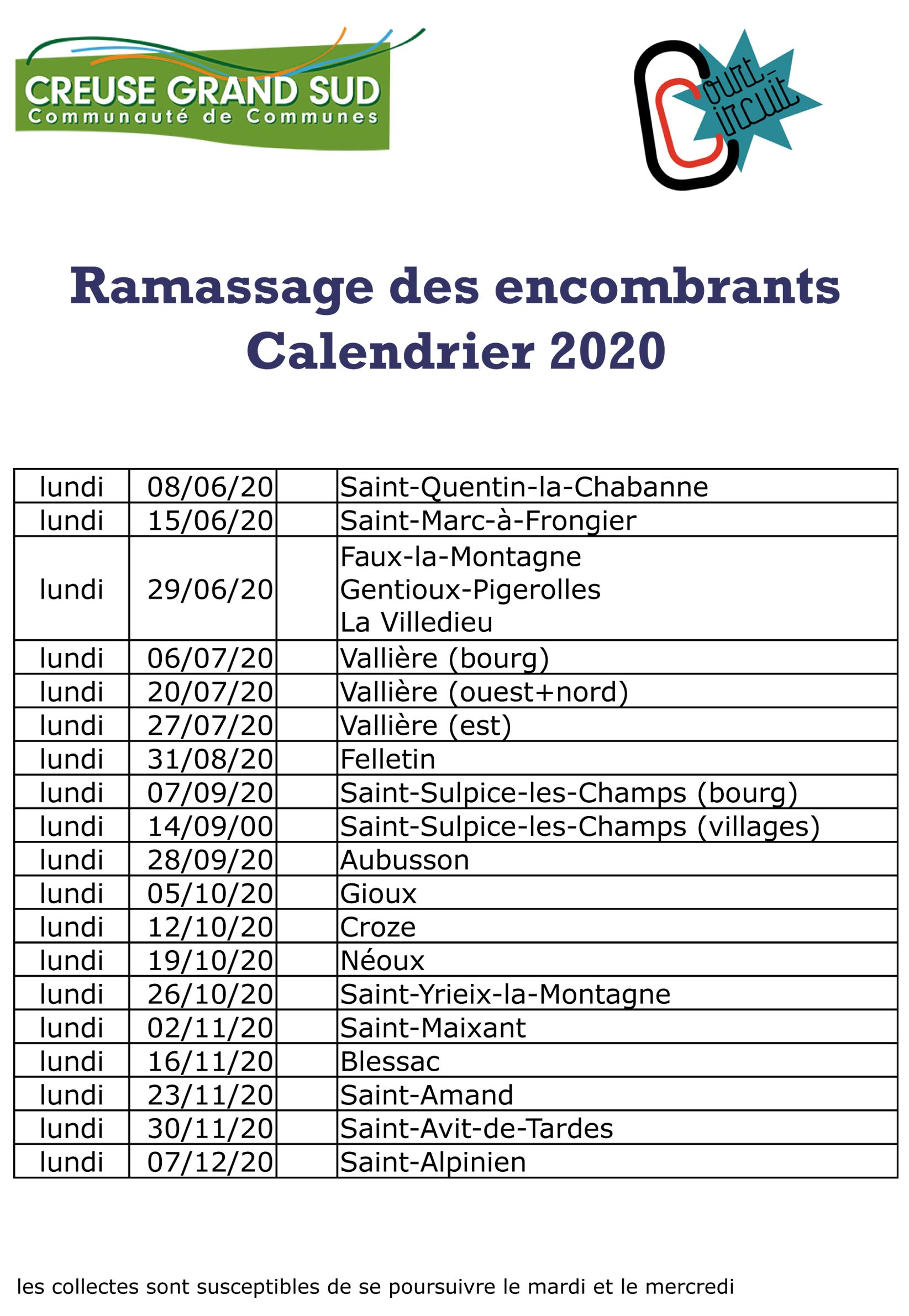 Calendrier encombrants 2019