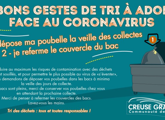 [MODIFICATION]  Les bons gestes de tri à adopter face au Coronavirus – Creuse Grand Sud