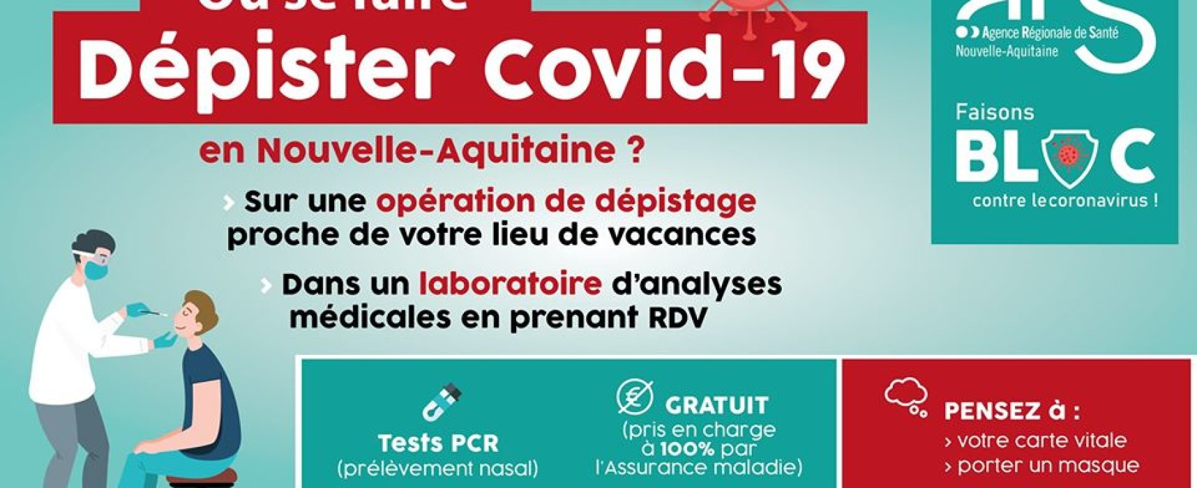 COVID-19 « opérations de dépistage sur les lieux touristiques en Nouvelle-Aquitaine »