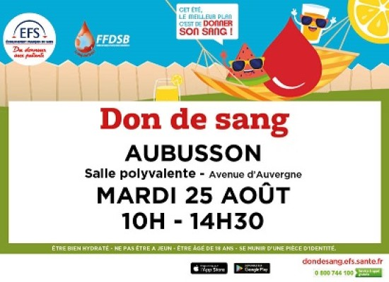 Mobilisez-vous pour le #DonDeSang ! #Aubusson MARDI 25 AOÛT 2020
