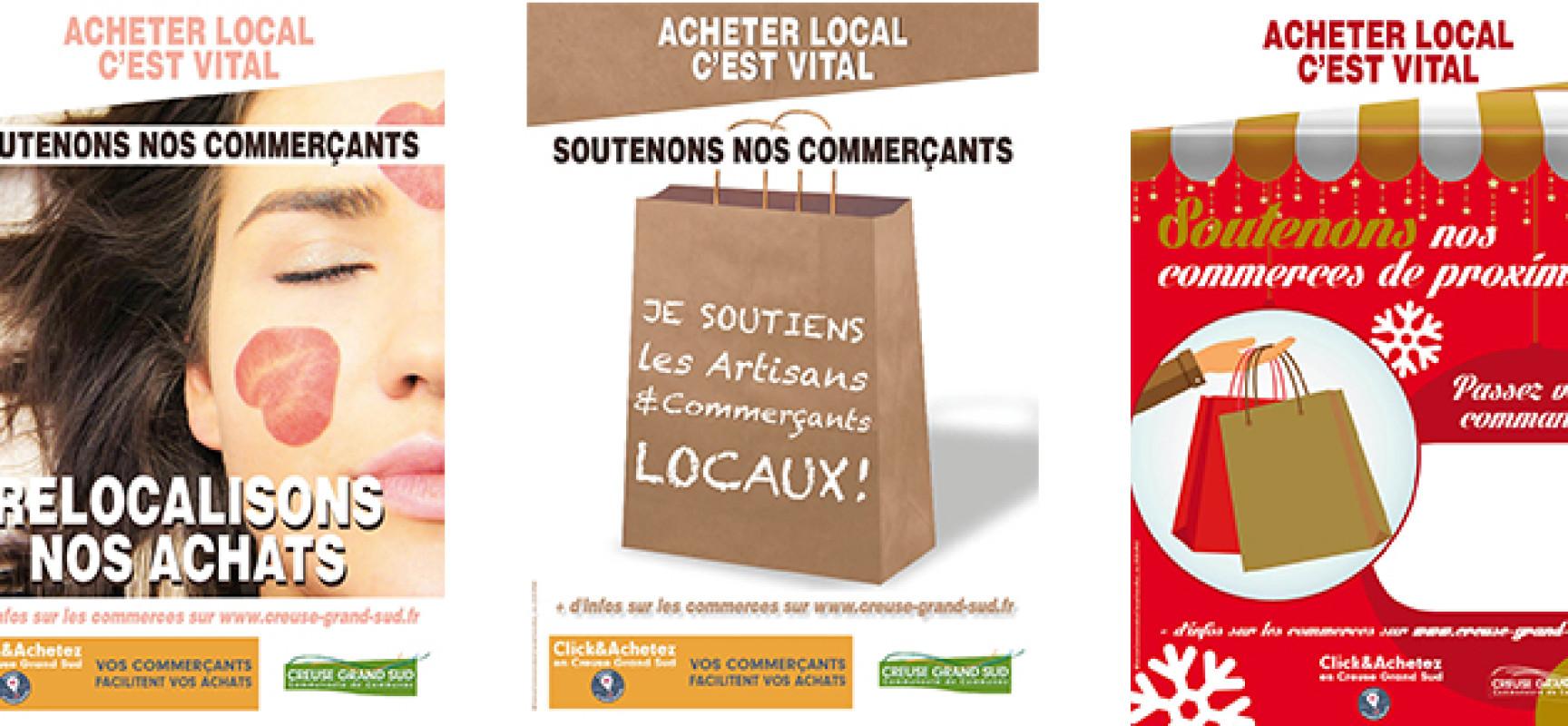 [Covid19] Creuse Grand Sud : une campagne d'affichage en soutien au commerce local – Décembre 2020