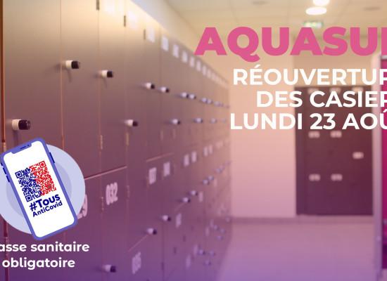 AQUASUD, réouverture des casiers à partir du lundi 23 août 2021