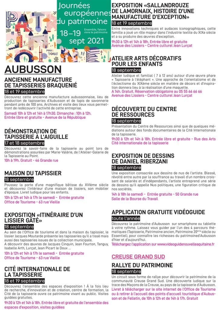 affiche journées européennes du patrimoine - Aubusson